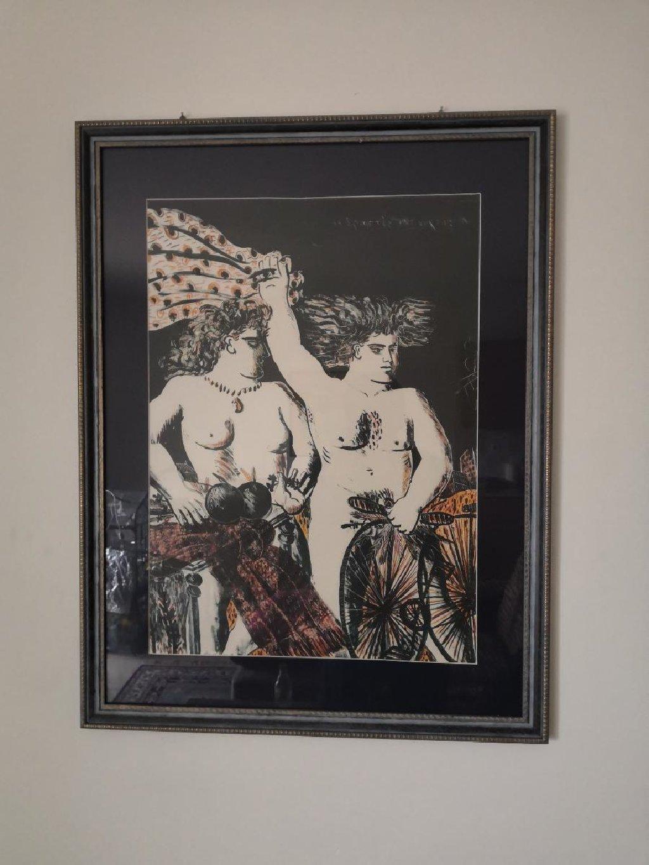 """Πίνακας """"Οι εραστές της νύχτας"""" του Φασιανού. Απομίμηση"""