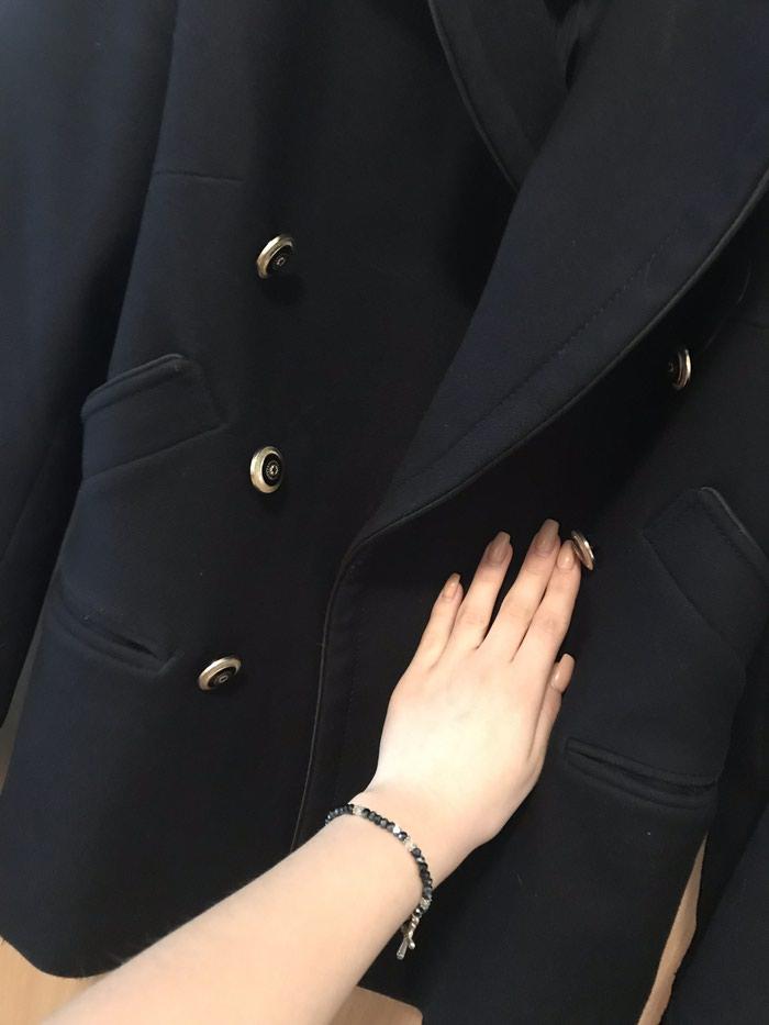 Tamno plavi kaput XS Dobijen na poklon, obucen samo jednom.  80% vuna