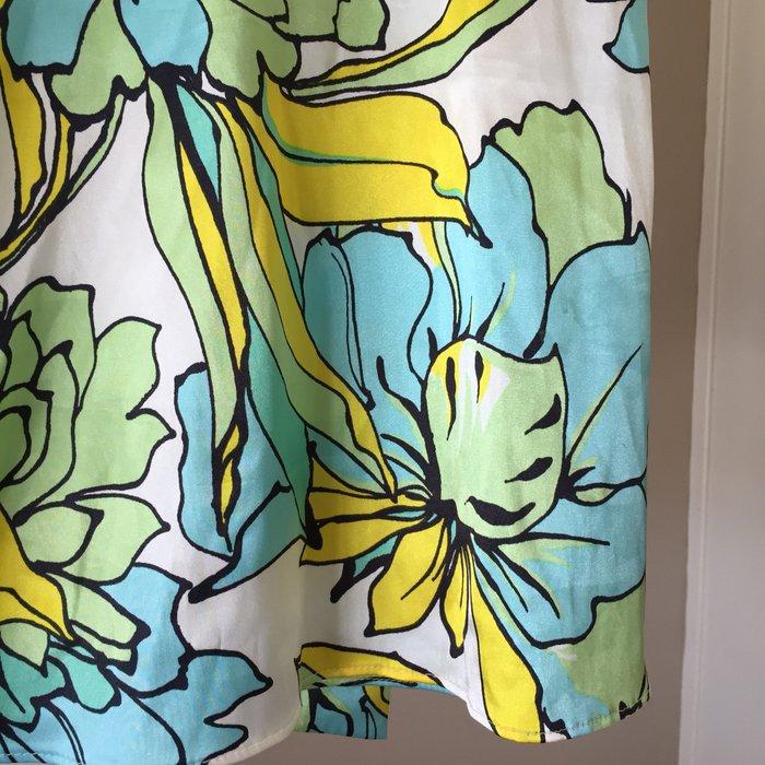 Zara σατέν αμάνικη floral πουκαμίσα με ψηλή. Photo 4