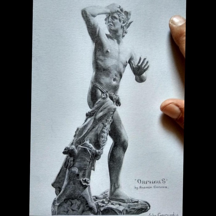 """Άγαλμα σχέδιο σε χαρτί """" Ορφέας """""""