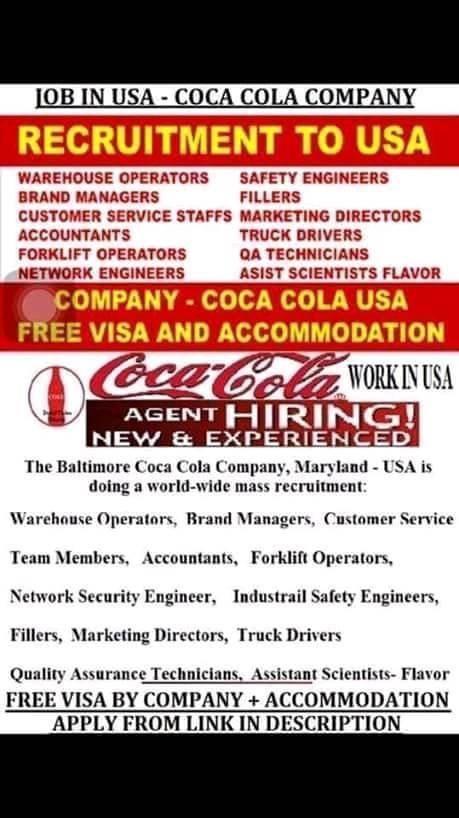 COCA COLA COMPANY NEEDED WORKERS URGENTLY. Photo 0