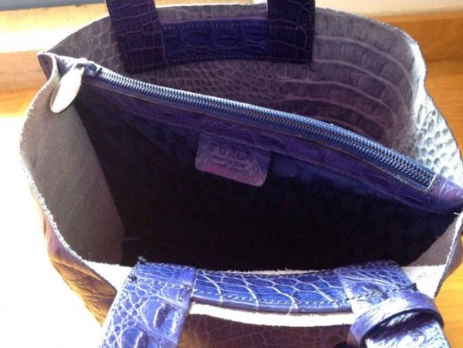 Furla δερμάτινη μπλε τσάντα, τύπωμα. Photo 4