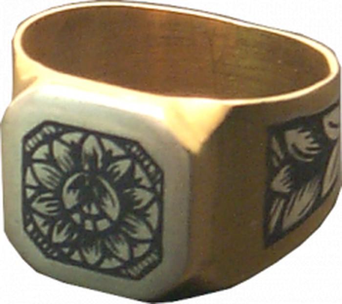 Δαχτυλίδι από ασήμι 925°, επιχρύσωση 24 Κ, με χειροποίητο σχέδιο τεχνοτροπίας νίελου
