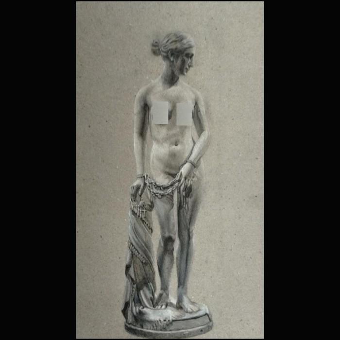 """Άγαλμα σχέδιο σε χαρτόνι """" Σκλαβωμένη Ελλάδα """""""