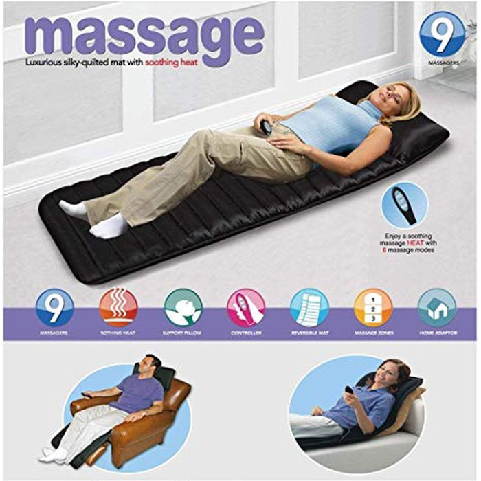 Massage mat bed with 9 massager and soothing heatmassage mat with 9 massagers