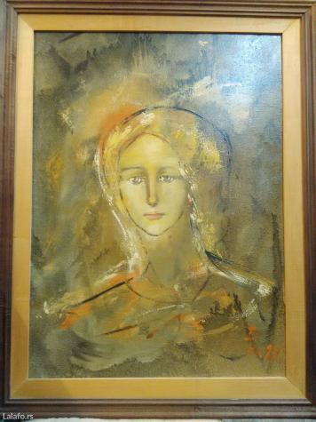 Slike - Crvenka: Slika portret devojke na platnu,autor slavoljub inić
