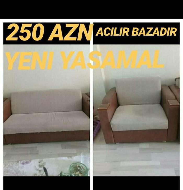 250 azn.2 kreslo 1 divan Alti bazadir hem de acilir Yeni yasamal #sheh. Photo 1