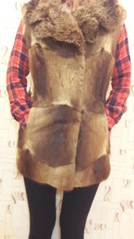 Андатра,стильный,натуральный меховой жилет воротник лиса