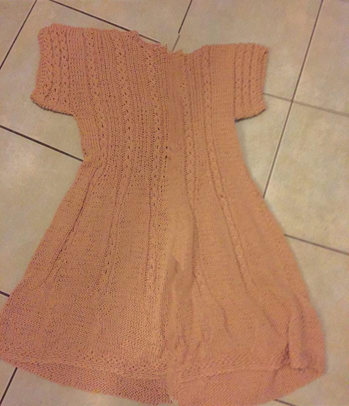 Μπεζ - αμμου πλεκτό κοττόν καλοκαιρινό μινι φορεμα . Photo 1