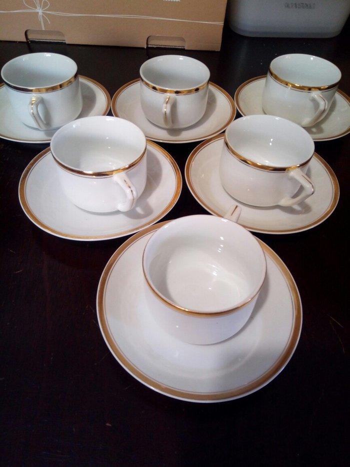 Παλιο σετ απο 6 φλυτζανια του καφε ή τσαγιου αχρησιμοποιητα λευκα με χ. Photo 0