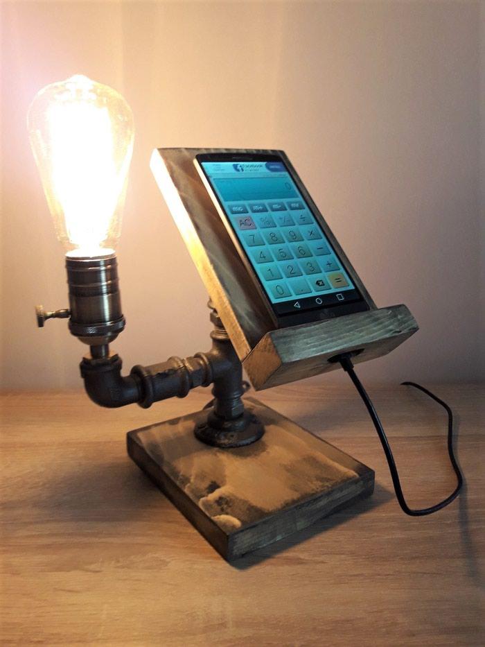 Rasveta - Kraljevo: Retro stona lampa sa nosacem za telefon, proistekla iz nase 'Mr