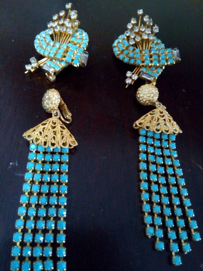 Σκουλαρικια και 2 καρφιτσες γυναικειες που μετατρεπονται και σε σκουλα. Photo 1