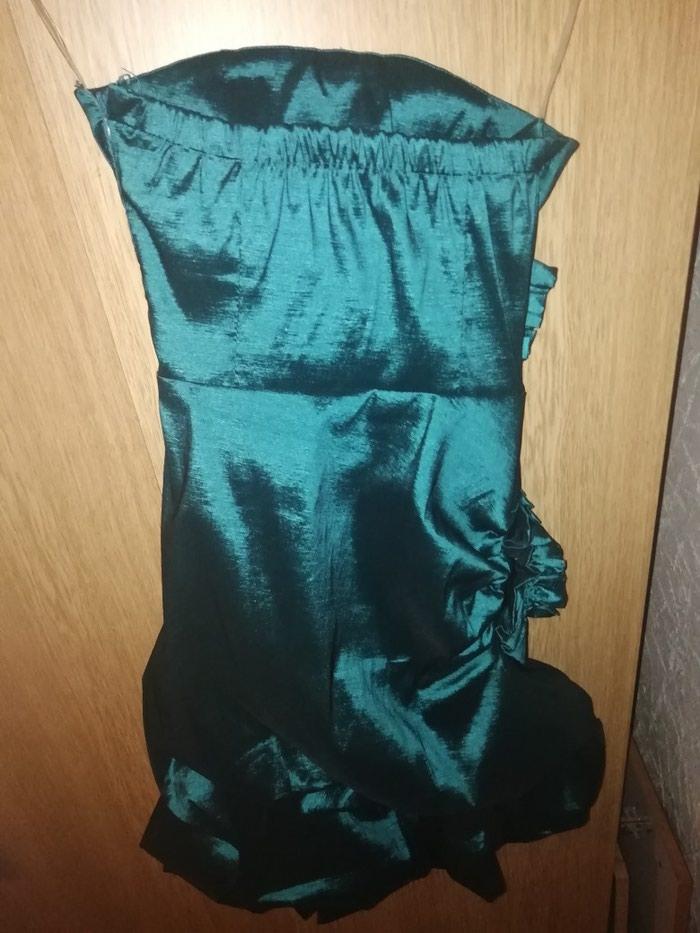 Elegantna haljina, jednom obucena, petrolej boje. Velicina M.. Photo 2