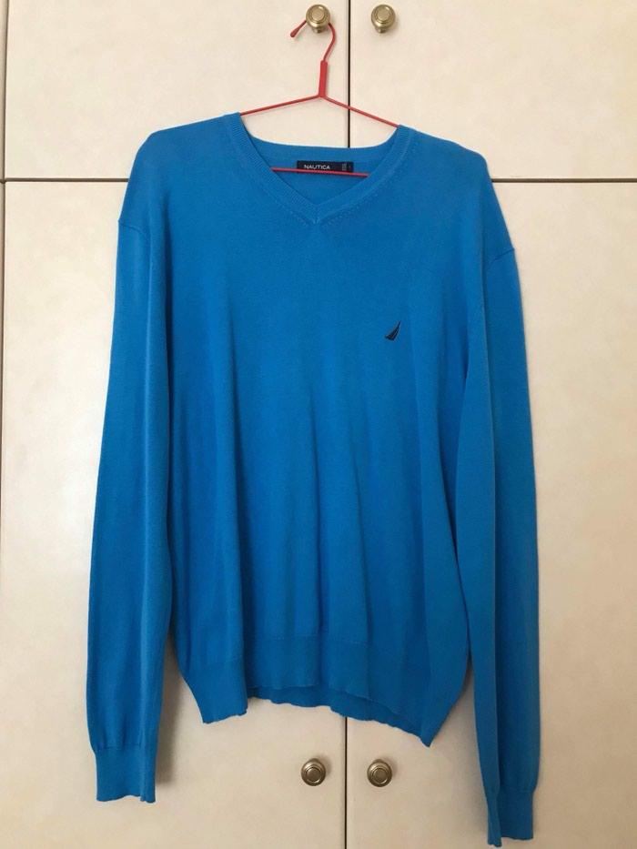 Ανδρικό πουλόβερ λεπτό με βε λαιμόκοψη σε μπλε ρουά χρώμα