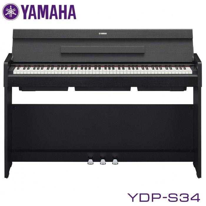 Пианино цифровое: Yamaha YDP-S34 - это 88-клавишное цифровое пианино с взвешенной клавиатурой, оснащенной градуированной молоточковой механикой, которая имитирует чувствительность к нажатию: ноты нижнего регистра будут нажиматься тяжелее, чем верхнего