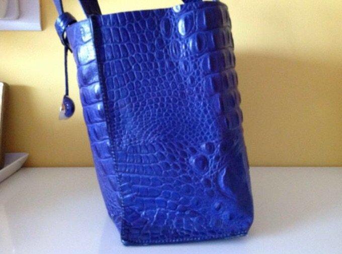 Furla δερμάτινη μπλε τσάντα, τύπωμα. Photo 2