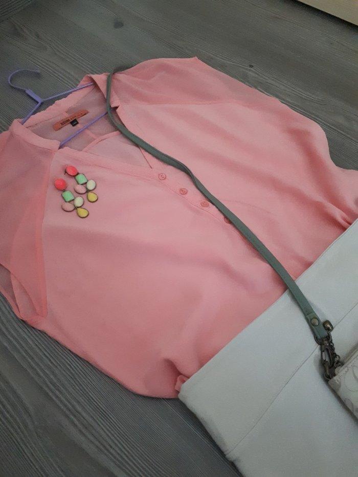 Μπλουζα ολοκαινουρια σε παλ χρωμα. Με διαφανεια στους ωμους και λαστιχ. Photo 2