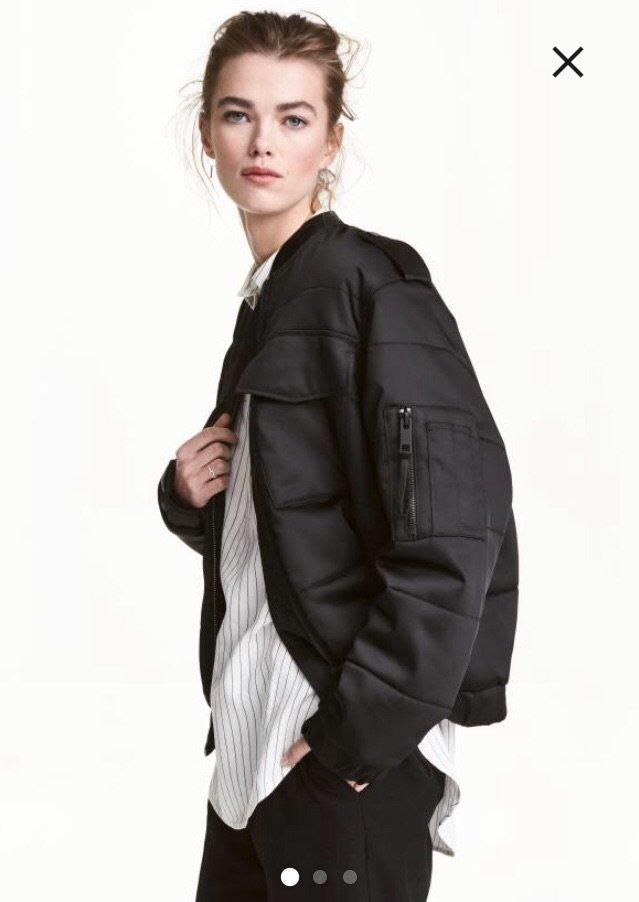 Ολοκαίνουργιο h&m μαύρο bomber puffer jacket. μπροστινές τσέπες. ά. Photo 0