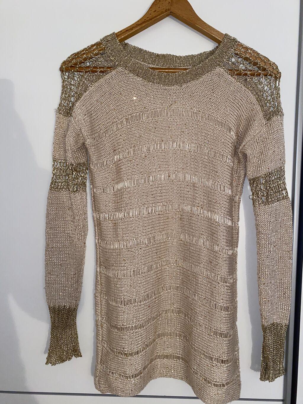 Turski dzemper/tunika, providan bez/zlatan odgovara s/m velicini rastegljiv je