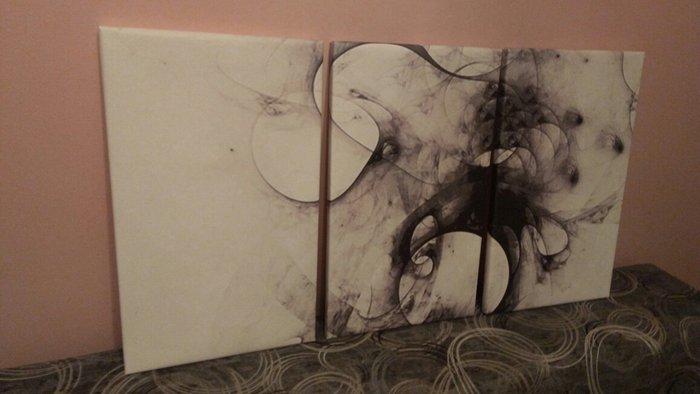 Sniženje sa 4000.Slike na platnu apstraktne iz tri dela, veličina 30x5 - Novi Sad