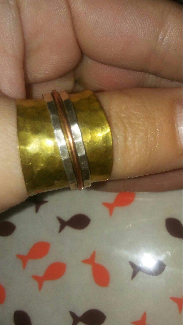 Δαχτυλιδι απο ορειχαλκο. με spinners ασημι. Photo 1