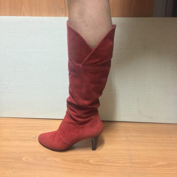 Δερμάτινη μπότα σε κόκκινο χρώμα ελαφρώς μεταχειρισμένη Nr 40. Photo 0