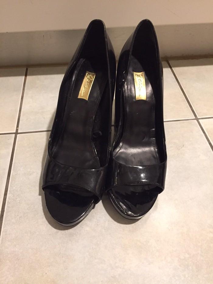Zara woman μαύρα λουστρίνια peeptoes με τακούνι από ξύλο . Αφόρετα. Photo 5