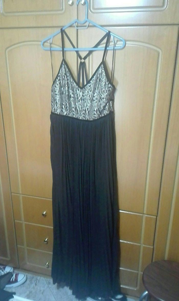 Φόρεμα επίσημο μαύρο μαξι με χρυσό μπούστο νούμερο 42 large. Photo 0