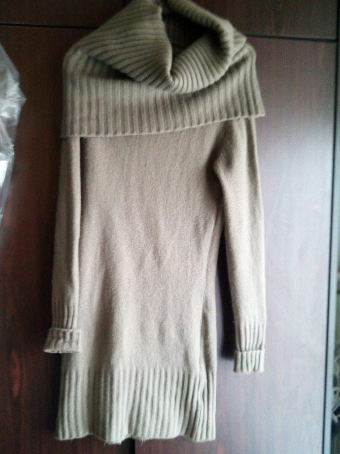 Καφέ ζεστό μάλλινο φόρεμα με μεγάλο γιακα no 2. Photo 2