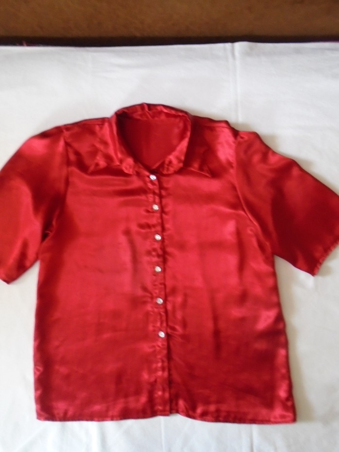 Košulje i bluze - Beograd: Elegantna satenska košulja, one najlepše crvene boje, sa lepim ukrasnim dugmićima, kao od providnog cirkona