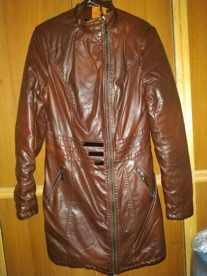 Утепленная кожанная куртка . Photo 1