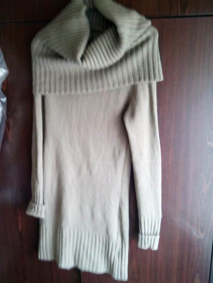Καφέ ζεστό μάλλινο φόρεμα με μεγάλο γιακα no 2. Photo 1