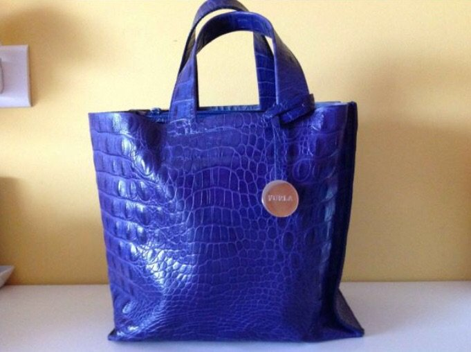 Furla δερμάτινη μπλε τσάντα, τύπωμα σε Νέα Σμύρνη
