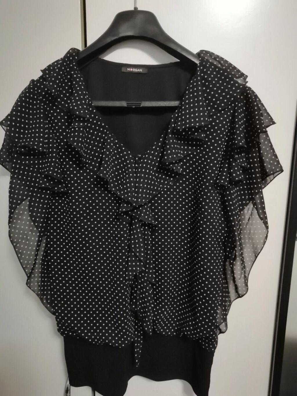 Morgan, crna bluza sa belim tufnicama, Vel 42/44