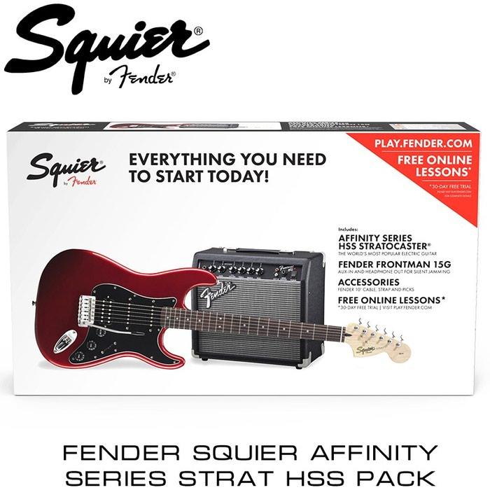 Гитара: Squier Affinity Series™ Stratocaster® HSS Pack – комплект для начинающих гитаристов, включающий в себя электрогитару Squier Affinity Series™ Stratocaster® HSS, мягкий чехол для гитары с подкладкой, комбоусилитель Frontman™ 15G и все необходимые аксессуары для того, чтобы можно было сразу начинать играть: инструментальный кабель для подключения, ремень для гитары и медиаторы