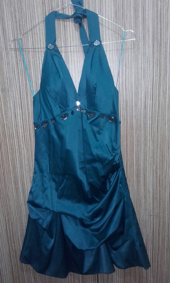 Φόρεμα πετρολ χρώμα,ballon με δέσιμο στο λαιμό.Τιμή συζητήσιμη . Photo 0