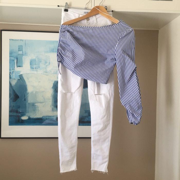 ZARA Denim λευκό skinny τζιν. Είναι ψηλόμεσο. Photo 7