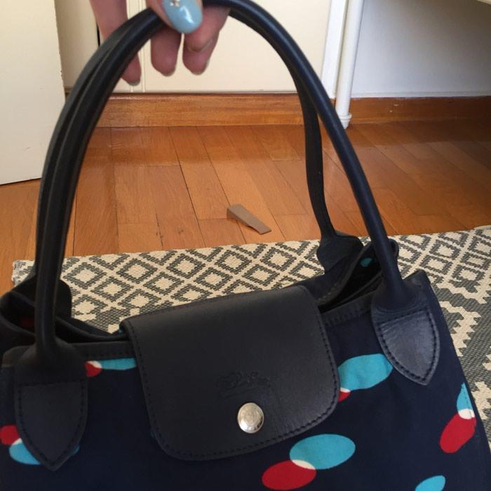 Longchamp canvas υφασμάτινη τσάντα. Σε σκούρο. Photo 1