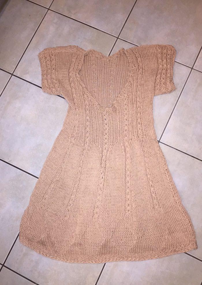 Μπεζ - αμμου πλεκτό κοττόν καλοκαιρινό μινι φορεμα . Photo 0