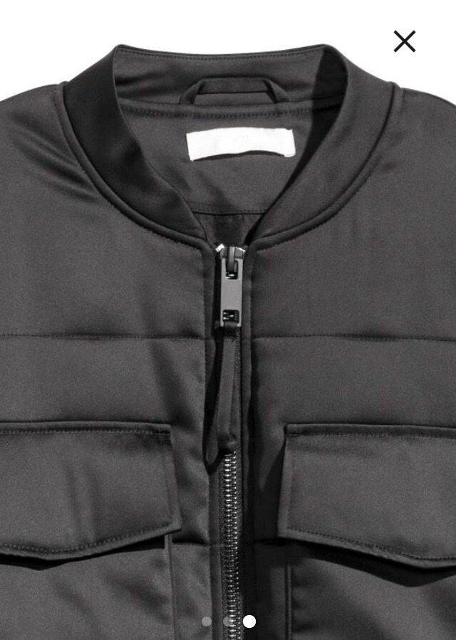Ολοκαίνουργιο h&m μαύρο bomber puffer jacket. μπροστινές τσέπες. ά. Photo 2