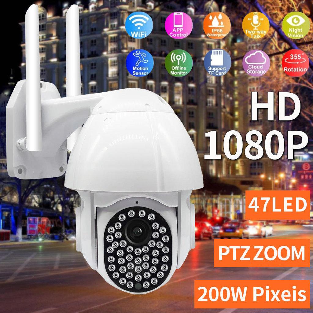 Guudgo 47 LED 1080P 2MP IP Camera Outdoor Speed Dome Wireless Wifi Security IP66 Waterproof Camera Pan Tilt 4XZoom IR Network CCTV Surveillance - EU Plug