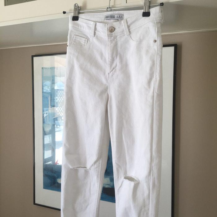 ZARA Denim λευκό skinny τζιν. Είναι ψηλόμεσο. Photo 4