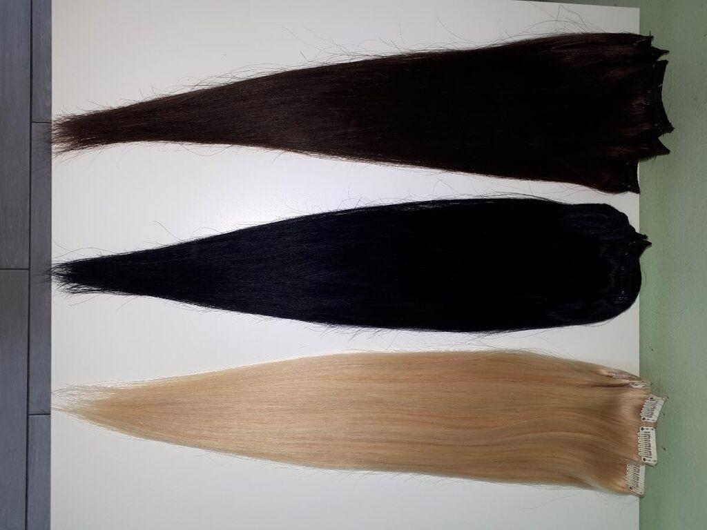 Prirodna kosa na klipse,iz 4 dela,100gr,50 cm ,boje: plava,crna i braon