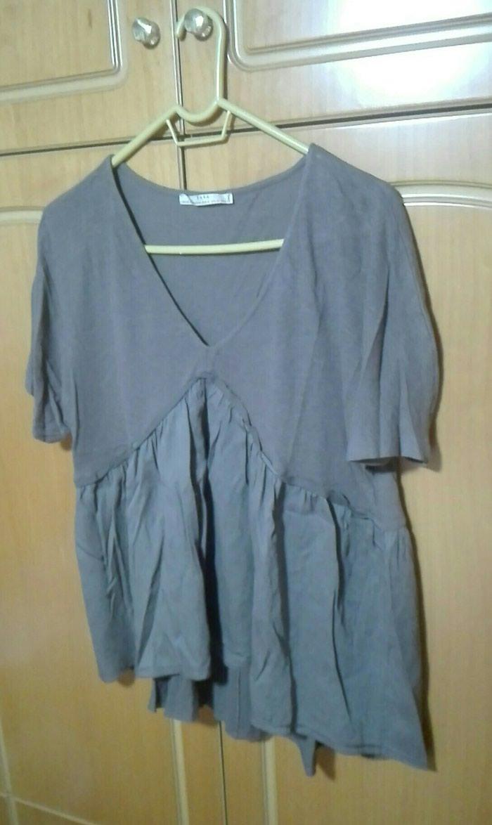 Zara μπλούζα βολαν καφε medium. Photo 0