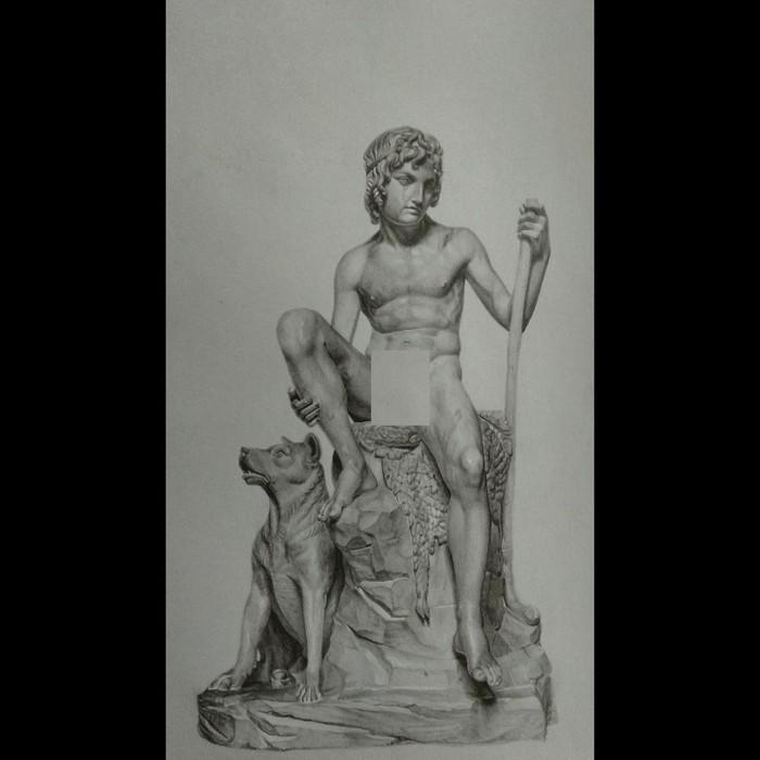 """Άγαλμα σχέδιο σε χαρτί """" Βοσκός με σκυλί """""""