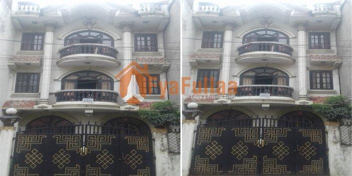 House having land area 0-2-3-2 of 3.5 floors, facing south, 13 feet in Kathmandu