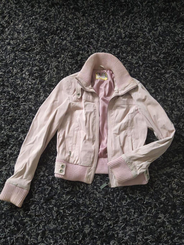 Δερμάτινο jacket Bershka, size L, ροζ απαλό χρώμα, καινούριο