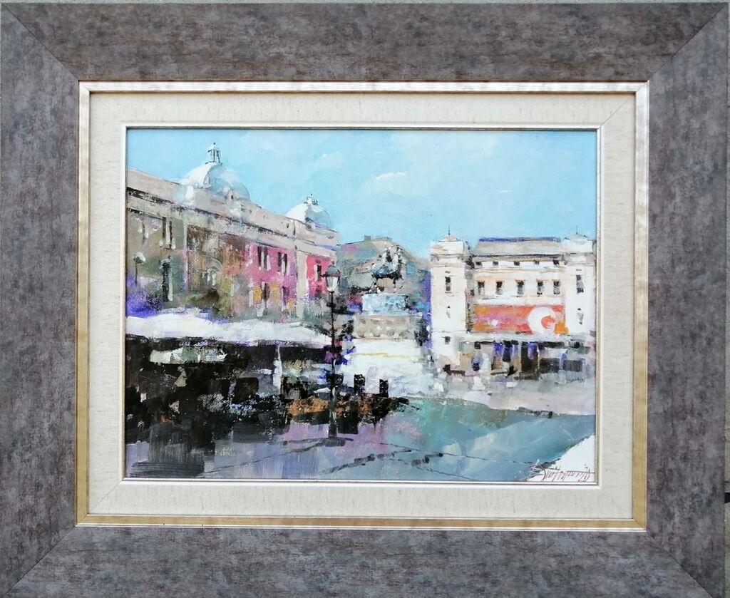 Slike - Beograd: Dimitrijević Branko, ulje na platnu zategnuto na blind ram, dimenzija slike 40x30 cm plus ram kao na fotografiji