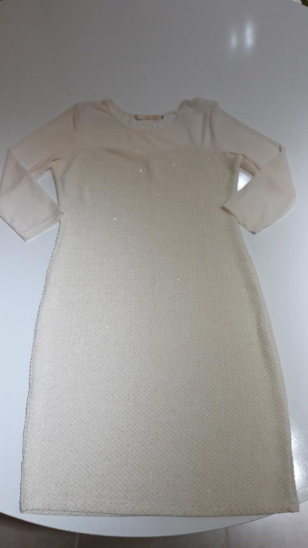 Haljina, bez boje, sa sljokicama i tilom
