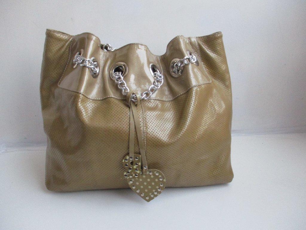 ROBERTA GANDOLFI luksuzna kožna torba boje zlata